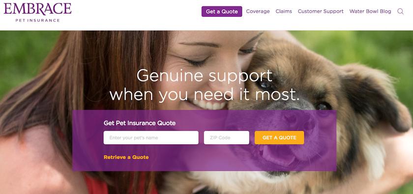 Embrace Pet Insurance Homepage