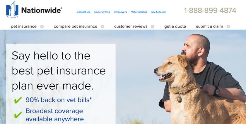 Nationwide Pet Insurance Homepage