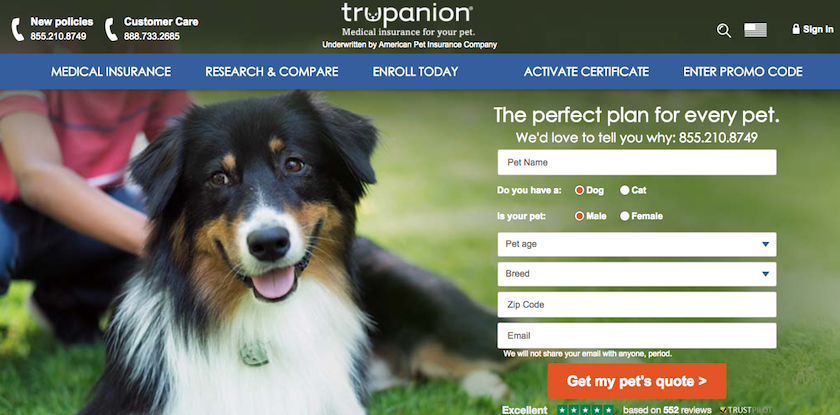 Trupanion Pet Insurance Homepage