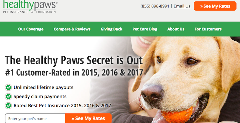 Healthy Paws Pet Insurance Homepage