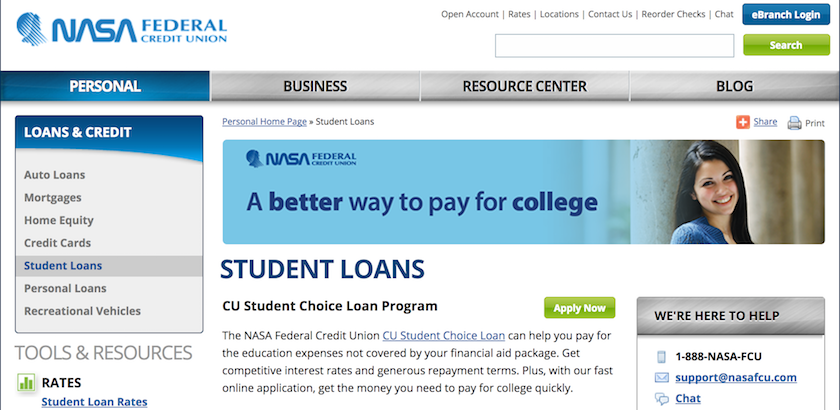 NASA FCU Student Loans Review