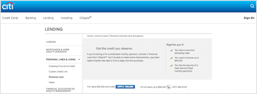 Citibank Personal Loans Review