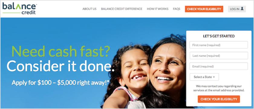 Balance Credit Homepage