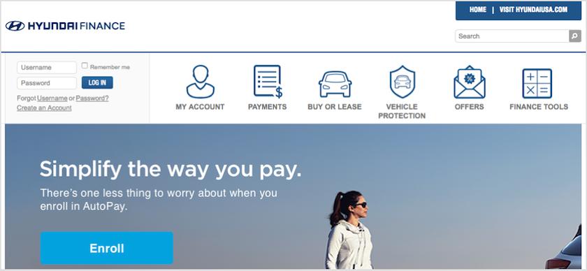 Hyundai Motor Finance Homepage