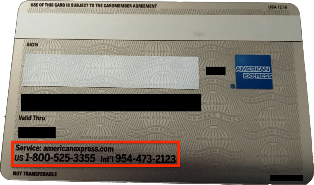 Customer Service Number Back of Amex Card