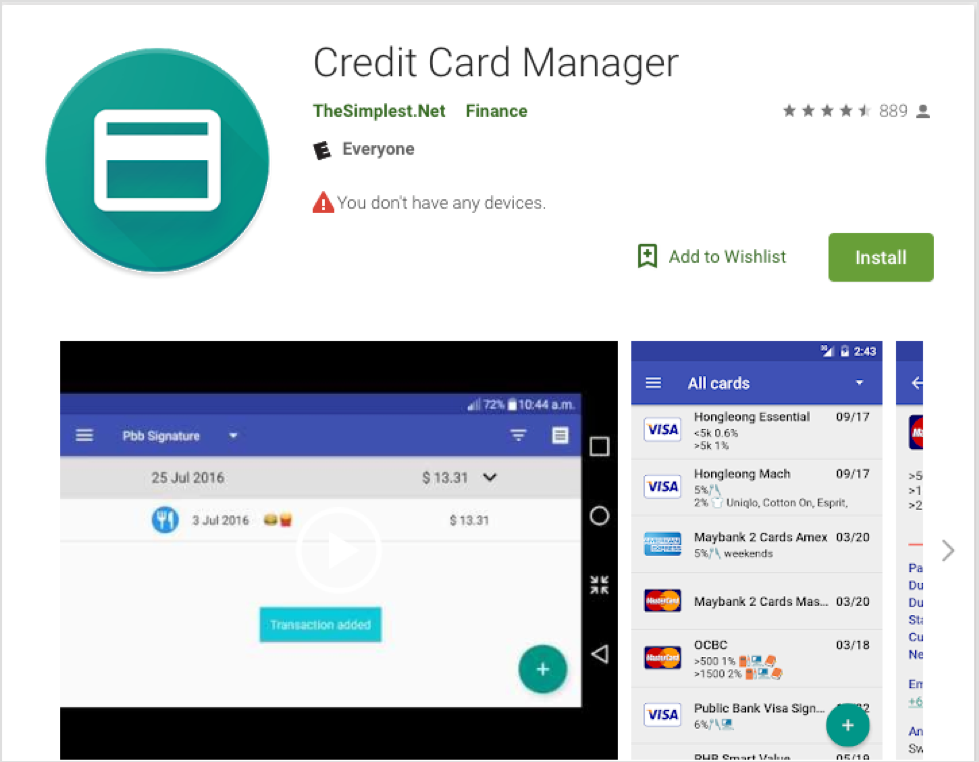 Credit Card Manager App