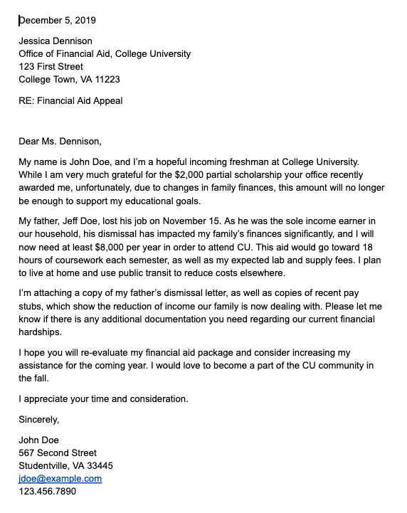 Sample financial aid appeal letter