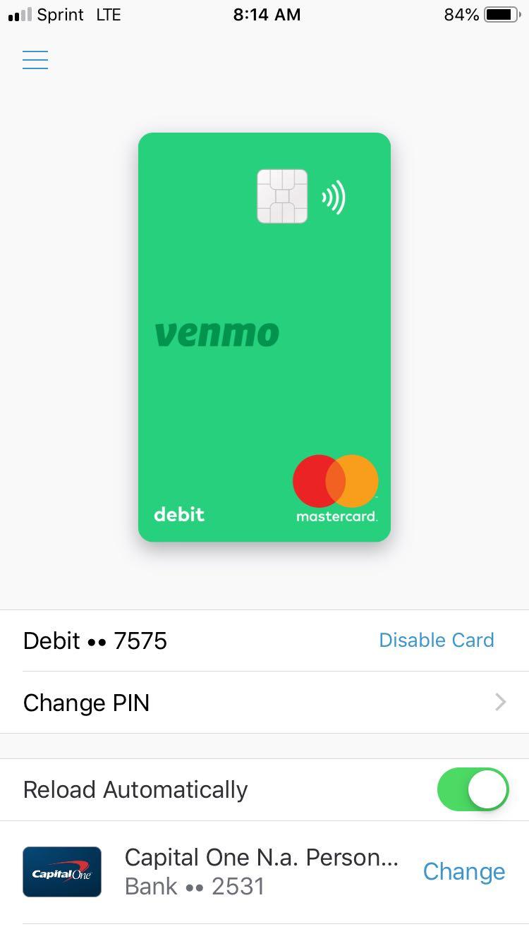 Screenshot of Nate's Venmo Debit Card