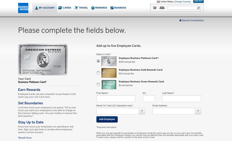 Third, choose the type of Amex card you want your employees to carry.