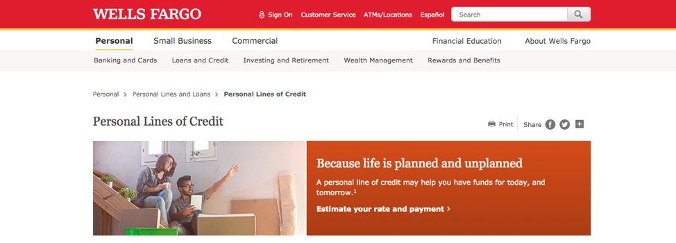 Wells Fargo Personal Line of Credit Step 1