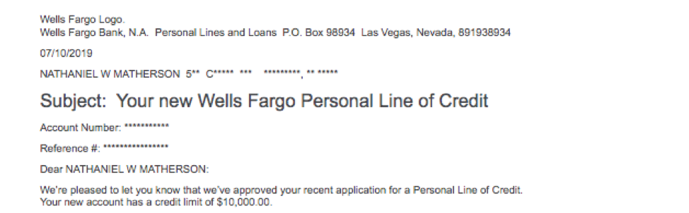 Wells Fargo Personal Line of Credit Step 3