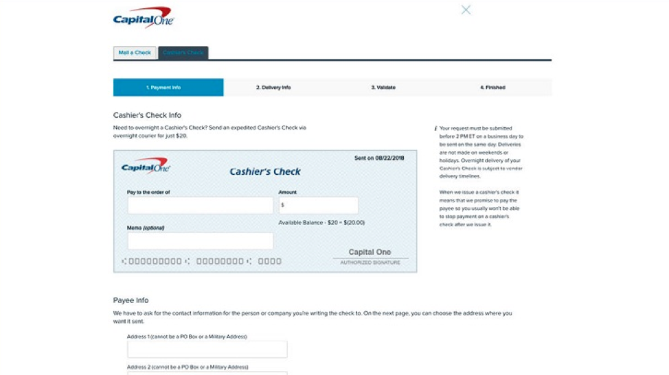 capital one bank credit card overnight payment address