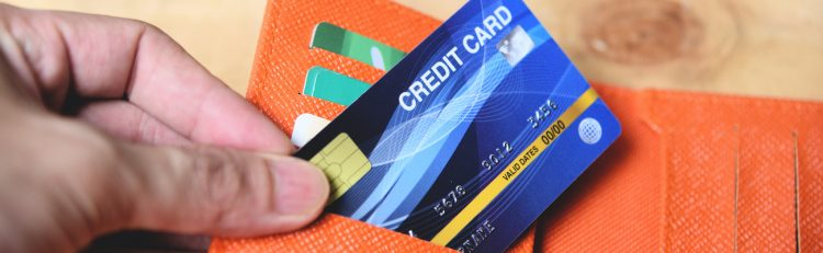 Credit card in a wallet