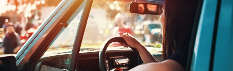 A women driving a car