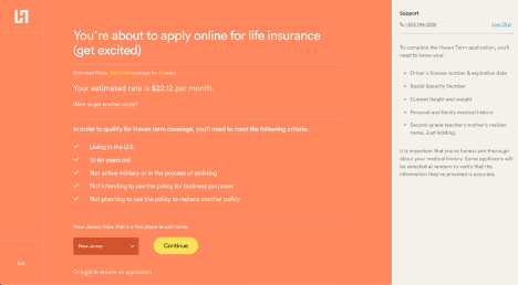 Apply for Haven Life screenshot